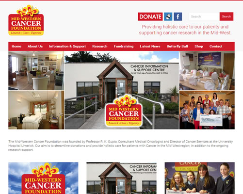 Web Design Limerick for Mid Western Cancer Foundation